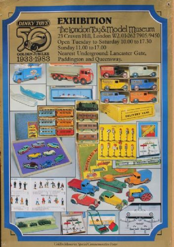 "Dinky Toys 50 Years Golden Jubilee 1933-1983 The London Toy & Model Museum Exhibition Wall Poster 23"" x 16.5"""
